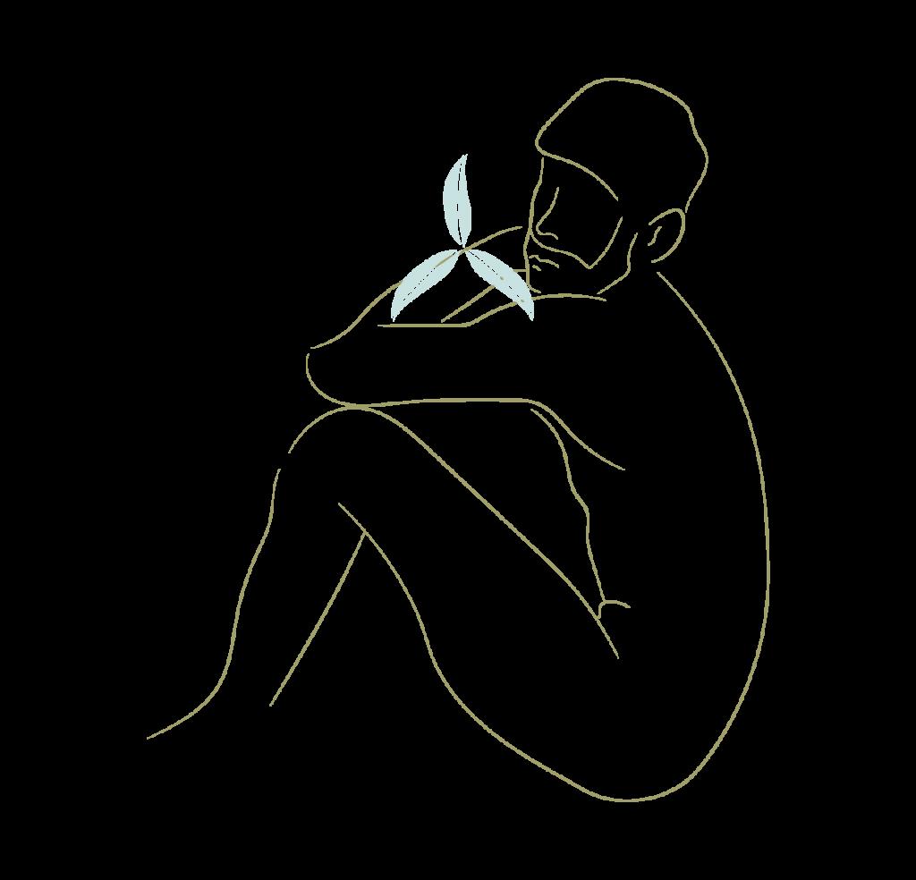 Silueta de hombre en bodyline art dorado