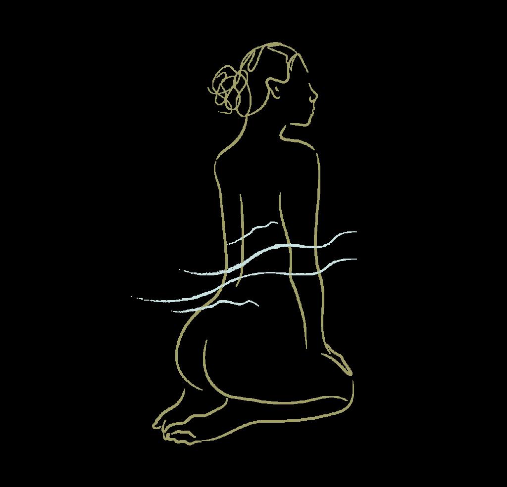Silueta de mujer de espaldas en bodyline art